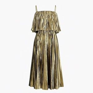 J Crew Collection pleated midi dress in gold lamé